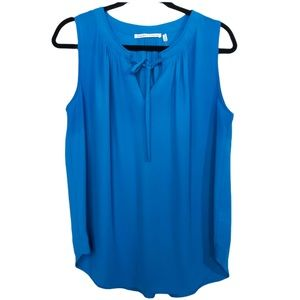 Violet and Claire Sleeveless Blouse Blue Pleated M